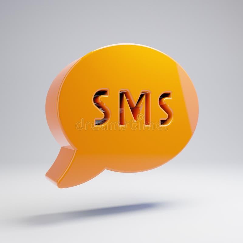Ícone alaranjado quente lustroso volumétrico de SMS isolado no fundo branco ilustração royalty free