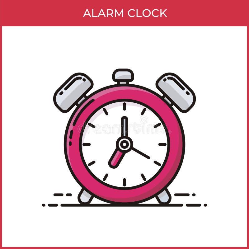 Ícone Alarm Clock (Relógio de alarme) - cliente com design de desenho de desenho plano ilustração stock