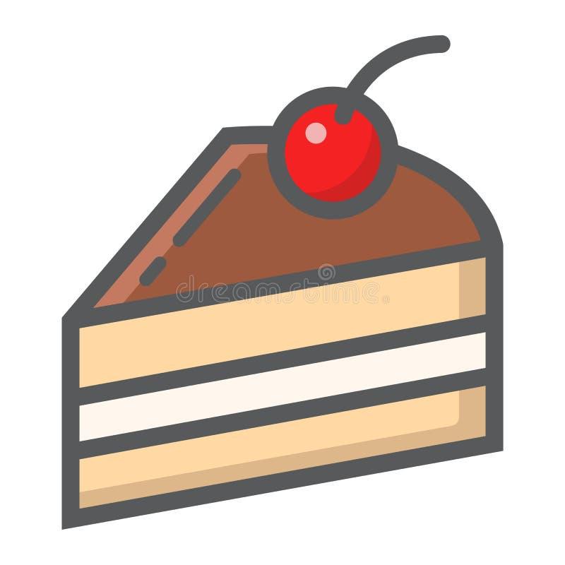 Ícone, alimento e bebida enchidos pedaço de bolo do esboço ilustração do vetor