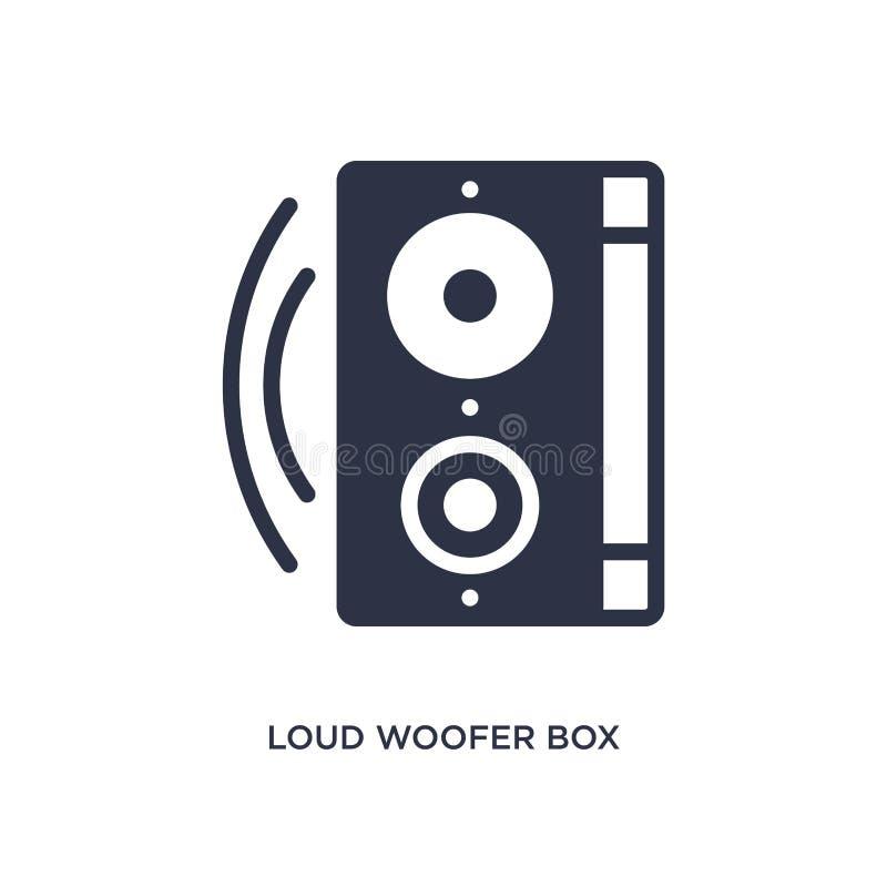 ícone alto da caixa do woofer no fundo branco Ilustração simples do elemento do conceito do cinema ilustração royalty free