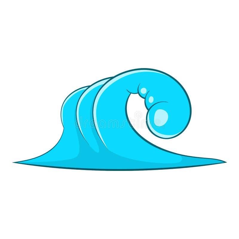 Ícone alto da onda de oceano, estilo dos desenhos animados ilustração do vetor