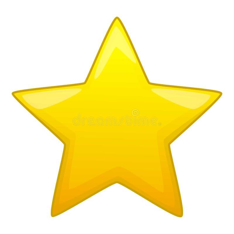 Ícone amarelo aguçado da estrela cinco, estilo dos desenhos animados ilustração stock
