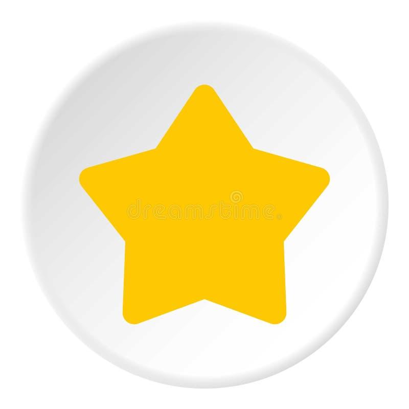 Ícone amarelo aguçado da estrela cinco, estilo liso ilustração stock