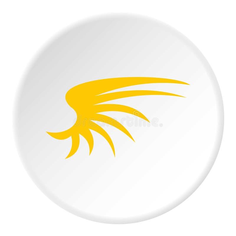 Ícone amarelo da asa dos pássaros, estilo liso ilustração do vetor