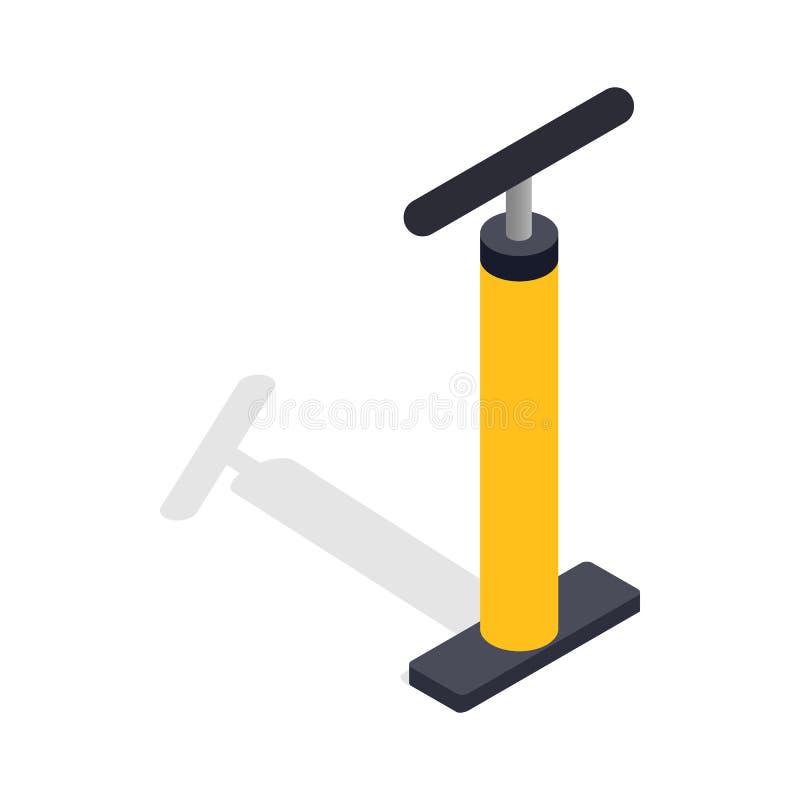 Ícone amarelo da bomba de bicicleta da mão, estilo 3d isométrico ilustração stock
