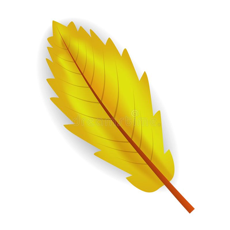 Ícone amarelo da folha da queda, estilo realístico ilustração do vetor