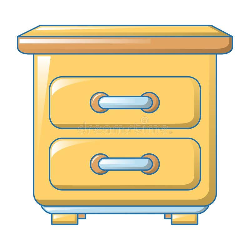 Ícone amarelo da gaveta, estilo dos desenhos animados ilustração stock