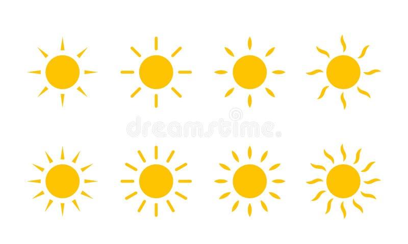 Ícone amarelo da luz do sol de Sun Linha raios do sol do vetor do redemoinho ou feixes do calor ilustração do vetor