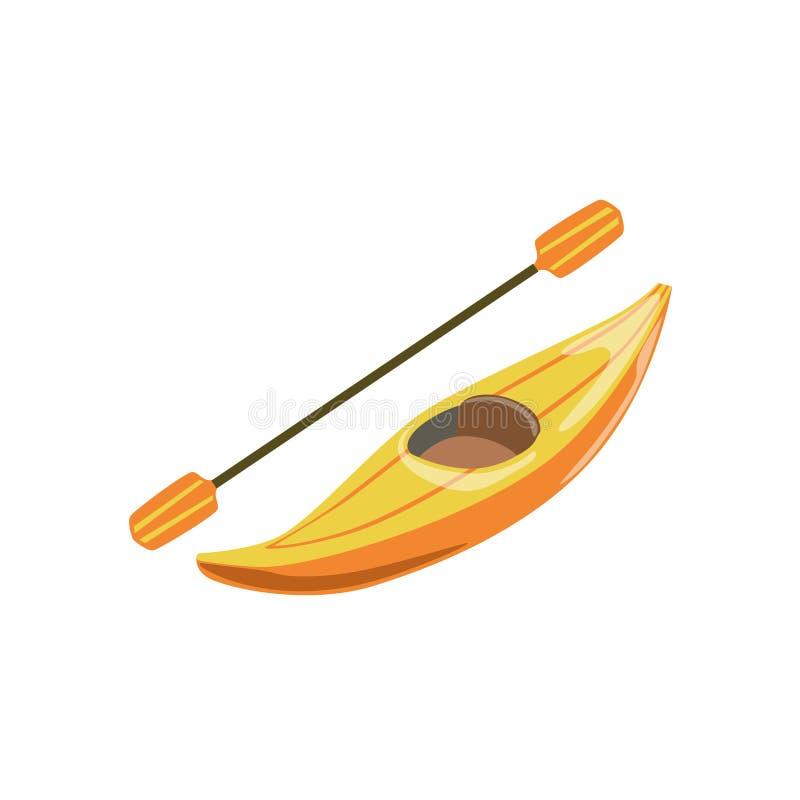 Ícone amarelo de Person Canoe Type Of Boat do plástico um ilustração do vetor