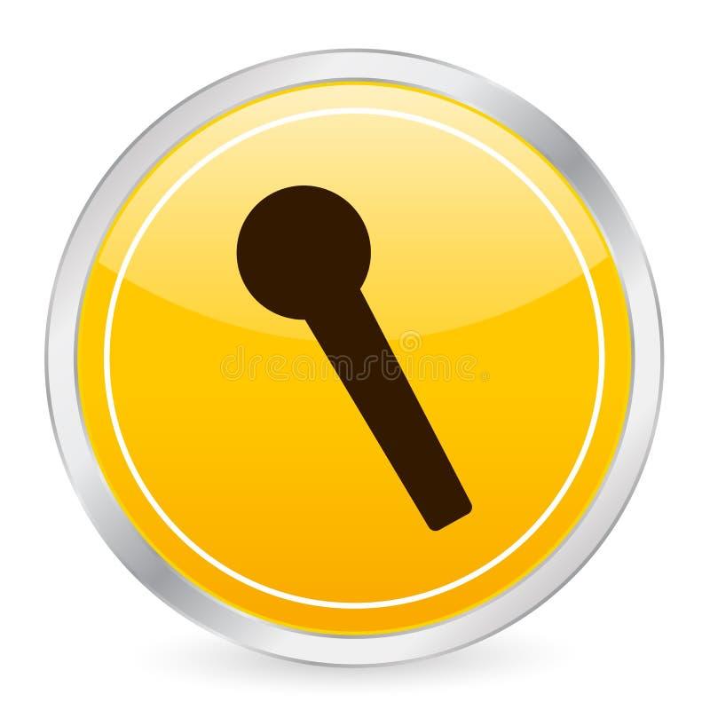 Ícone amarelo do círculo do microfone ilustração do vetor