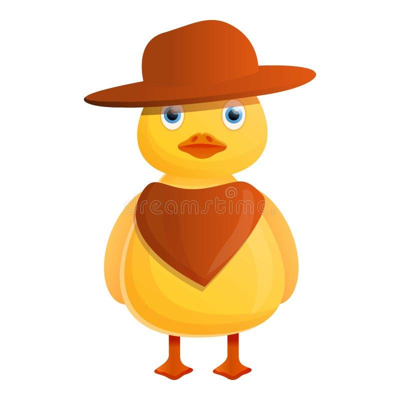 Ícone amarelo do pato do vaqueiro, estilo dos desenhos animados ilustração stock