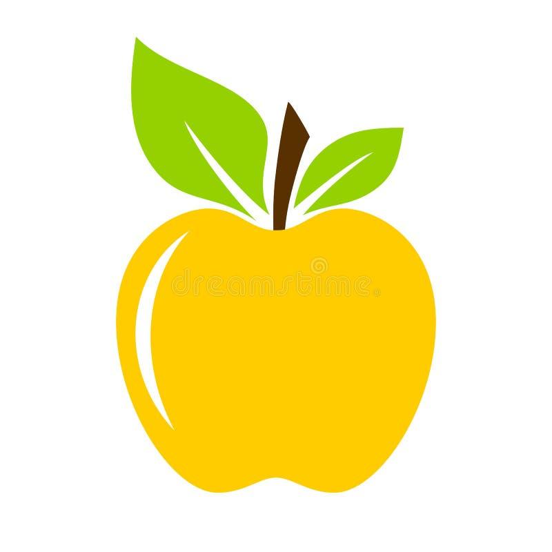 Ícone amarelo do vetor da maçã ilustração stock
