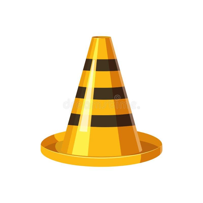 Ícone amarelo e preto do cone do tráfego, estilo dos desenhos animados ilustração do vetor