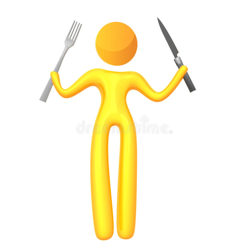 Ícone Amarelo Elástico Do Humanoid Pronto Para Comer Fotos de Stock