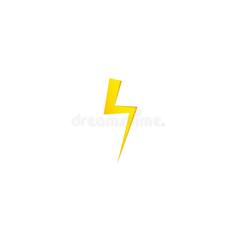 Ícone amarelo simples do raio Trovão, parafuso e sinal de alta tensão ilustração royalty free