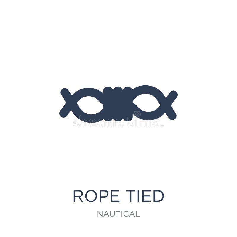 Ícone amarrado corda A corda lisa na moda do vetor amarrou o ícone no backg branco ilustração do vetor