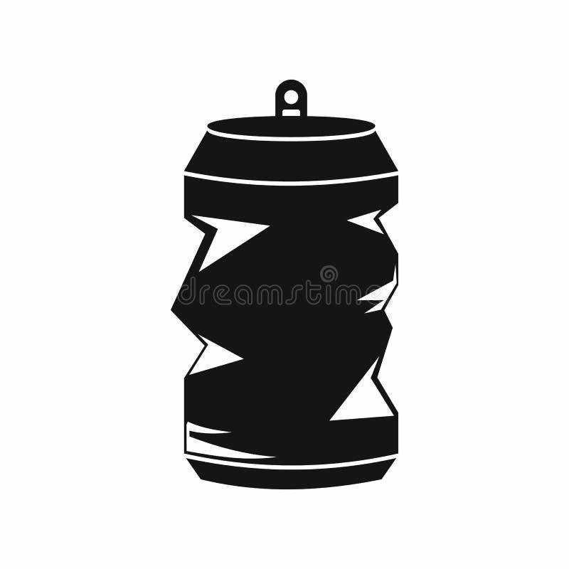Ícone amarrotado das latas de alumínio, estilo simples ilustração do vetor