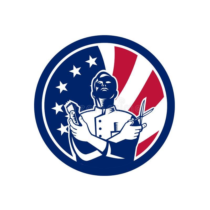Ícone americano da bandeira dos EUA do barbeiro ilustração stock