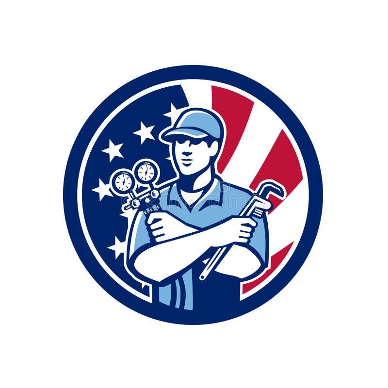 Ícone americano da bandeira dos EUA do recruta do Ar-engodo ilustração royalty free