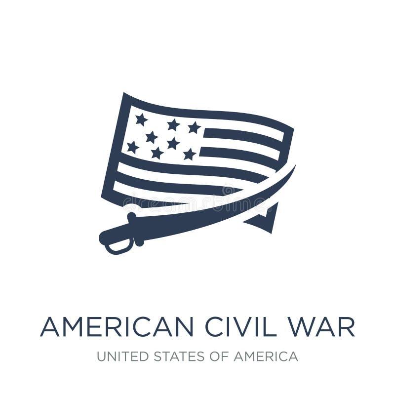 ícone americano da guerra civil Guerra civil lisa na moda i de americano do vetor ilustração royalty free