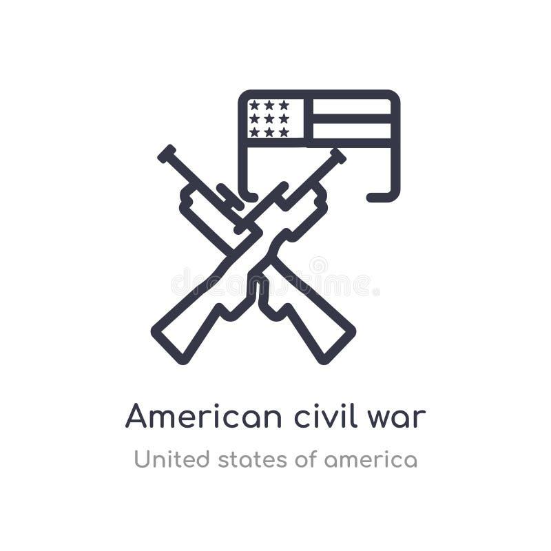 ícone americano do esboço da guerra civil linha isolada ilustra??o do vetor da cole??o de Estados Unidos da Am?rica curso fino ed ilustração do vetor