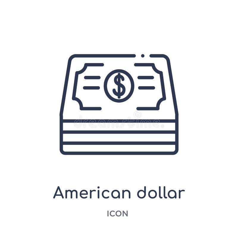 Ícone americano linear do dólar da coleção do esboço do comércio Linha fina ícone americano do dólar isolado no fundo branco ilustração royalty free