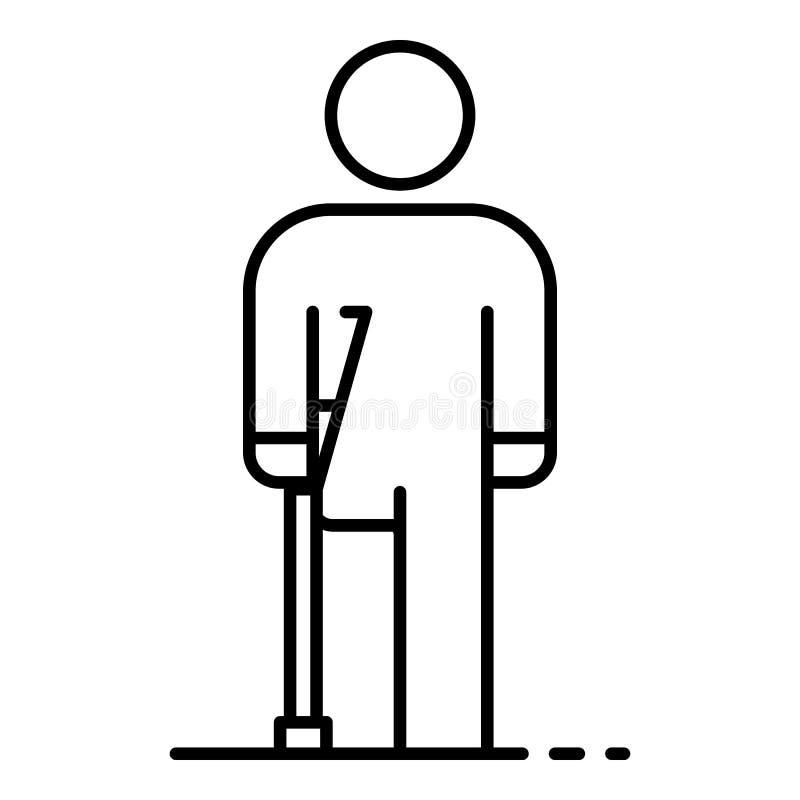 Ícone amputado inválido do pé do homem, estilo do esboço ilustração stock