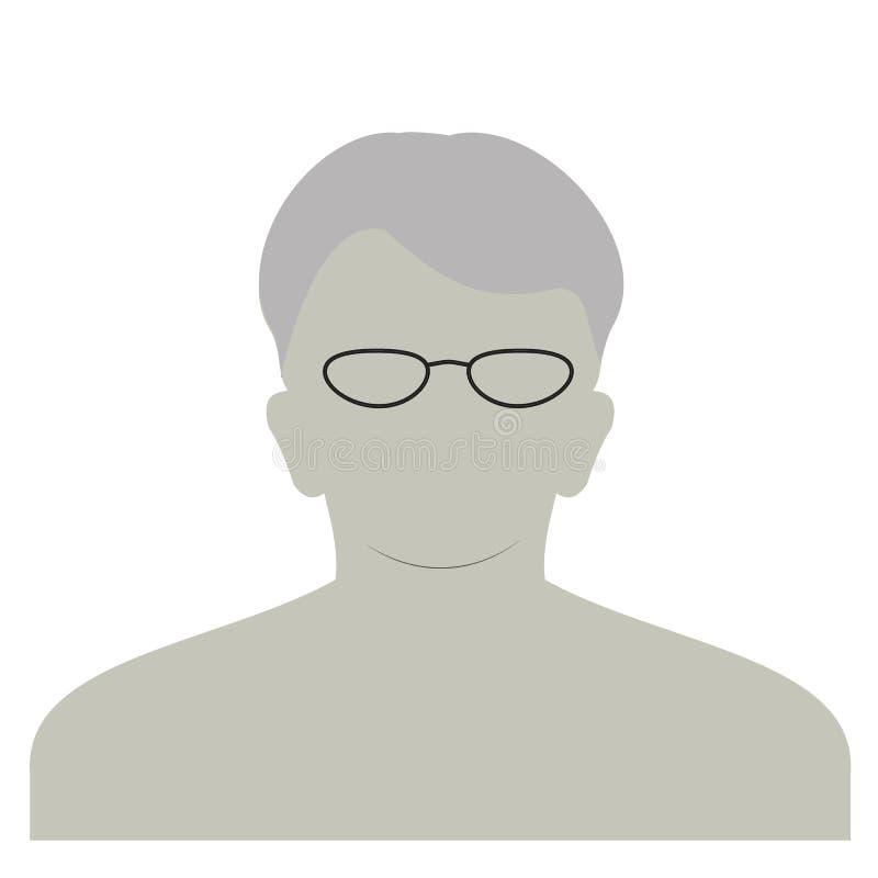 Ícone anônimo da cara do perfil Pessoa cinzenta da silhueta Avatar masculino do defeito Placeholder da foto Isolado no fundo bran ilustração do vetor