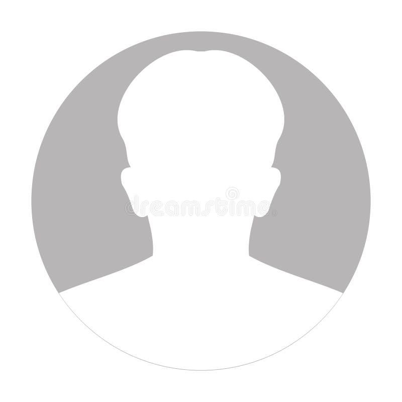 Ícone anônimo da cara do perfil Pessoa cinzenta da silhueta Avatar masculino do defeito Placeholder da foto Isolado no fundo bran ilustração stock