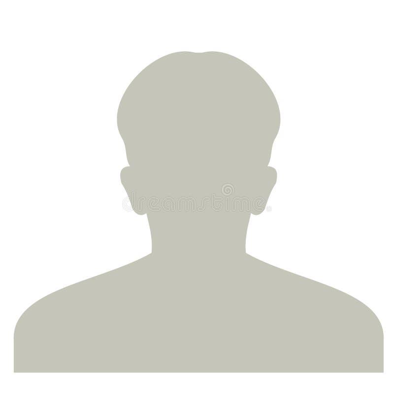 Ícone anônimo da cara do perfil Pessoa cinzenta da silhueta Avatar masculino do defeito Placeholder da foto No branco ilustração royalty free