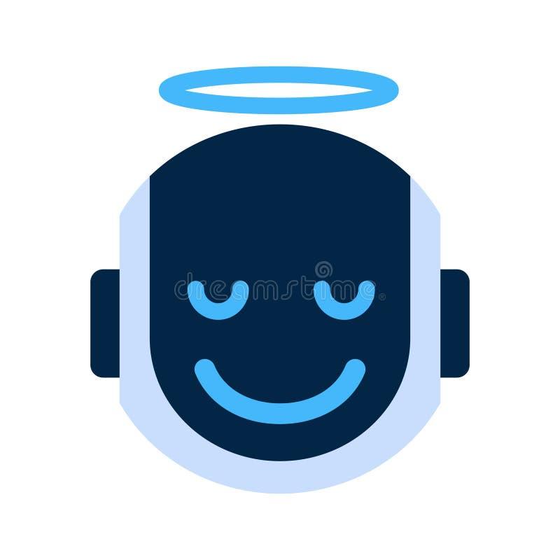 Ícone Angel Face Emotion Robotic Emoji de sorriso da cara do robô ilustração royalty free