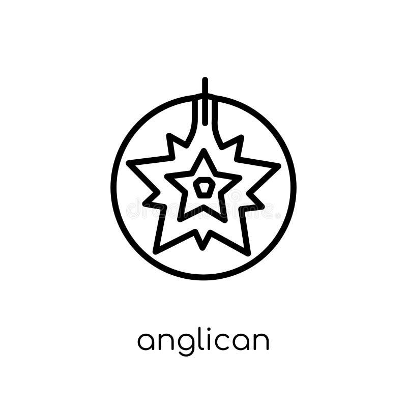 Ícone anglicano Ícone anglicano do vetor linear liso moderno na moda sobre ilustração royalty free
