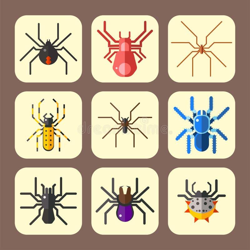 Ícone animal assustador liso gráfico do vetor do Dia das Bruxas do horror do perigo do inseto da natureza do projeto do medo do a ilustração stock