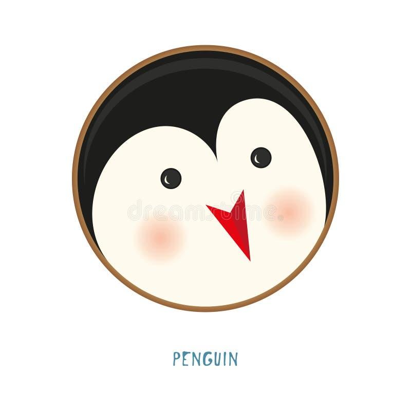 Ícone animal bonito no fundo branco Pinguim da etiqueta do crachá do anel ilustração stock