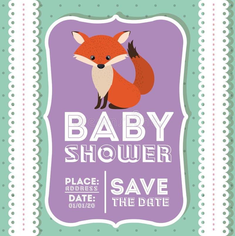 Ícone animal do cartão da festa do bebê do Fox ilustração do vetor