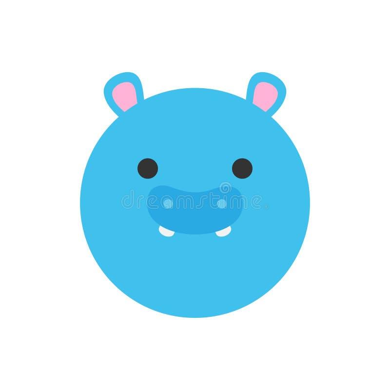 Ícone animal do gráfico de vetor do hipopótamo redondo bonito ilustração stock