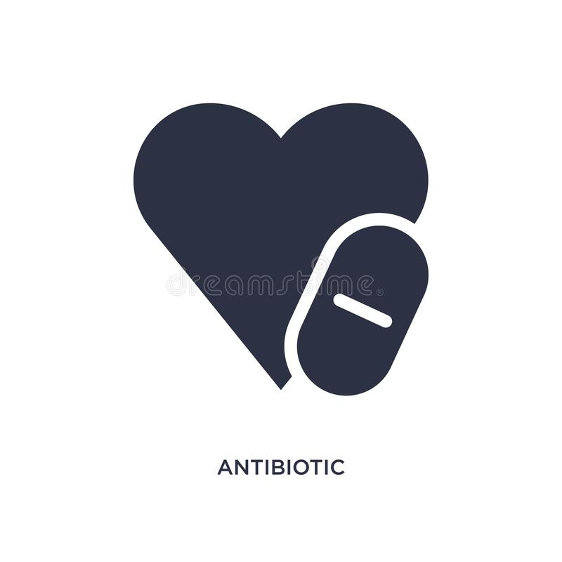 ícone antibiótico no fundo branco Ilustração simples do elemento do conceito médico ilustração do vetor