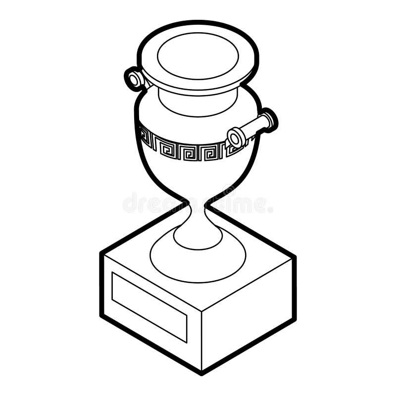 Ícone antigo do vaso, estilo do esboço ilustração do vetor