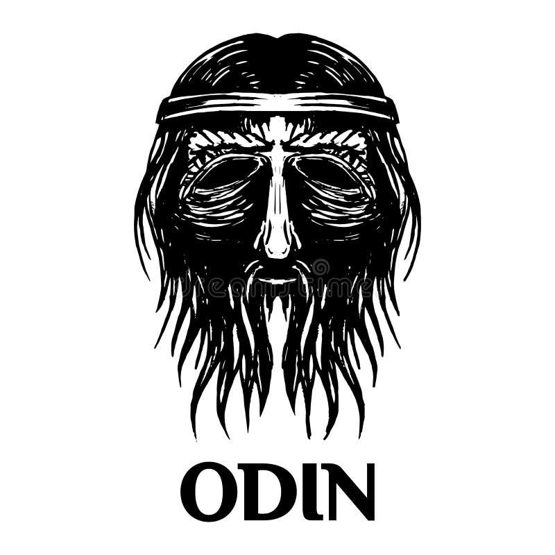 Ícone antigo escandinavo do vetor da cabeça do deus de Odin ilustração stock