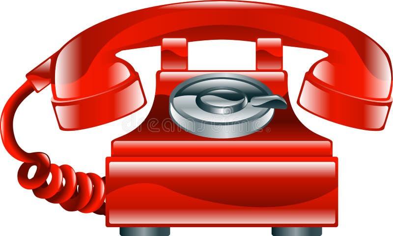 Ícone antiquado vermelho brilhante do telefone ilustração stock