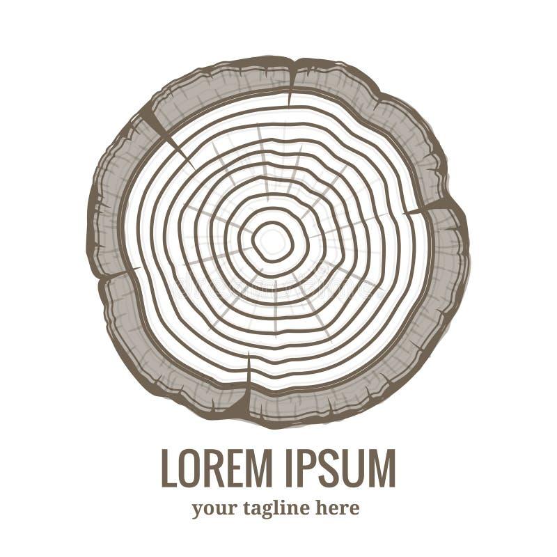 Ícone anual do logotipo dos anéis de crescimento da árvore ilustração royalty free