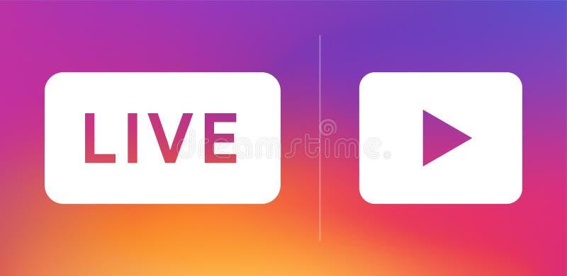 Ícone ao vivo para mídia social Sinal de transmissão contínua Logotipo de radiodifusão Botão Reproduzir Banner on-line do blog Il fotos de stock