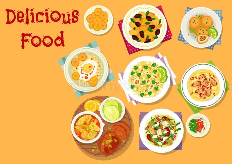 Ícone apetitoso dos pratos para o projeto do menu do almoço ilustração stock