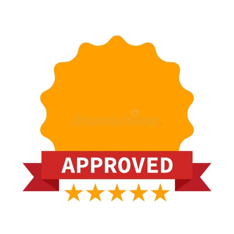 Ícone aprovado do certificado com cinco estrelas ilustração do vetor