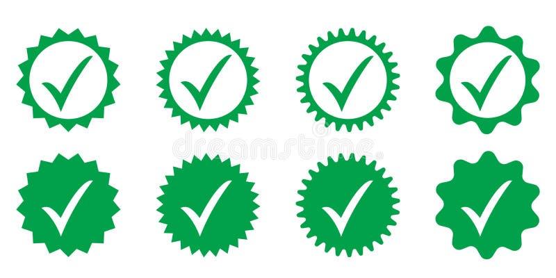 Ícone aprovado verde Verifica??o do perfil Aceite o crach? ilustração royalty free