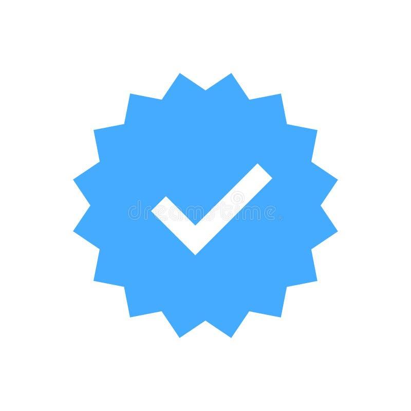 ícone aprovado Verificação do perfil Aceite o crachá Ícone da qualidade Marca de verificação Etiqueta com tiquetaque Ilustração d ilustração royalty free
