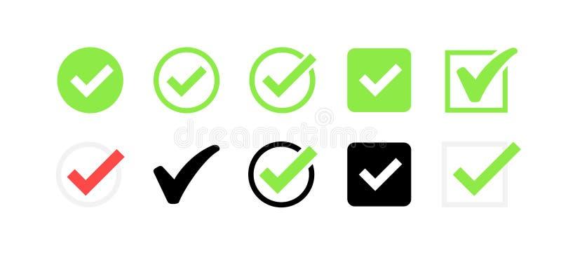 ícone aprovado Verificação do perfil Aceite o crachá Ícone da qualidade Marca de verificação Etiqueta com tiquetaque Ilustração d ilustração stock
