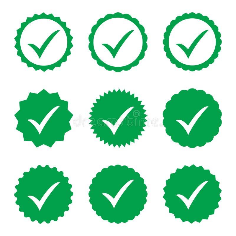 ícone aprovado Verificação do perfil Aceite o crachá Ícone da qualidade Marca de verificação Etiqueta com tiquetaque ilustração stock
