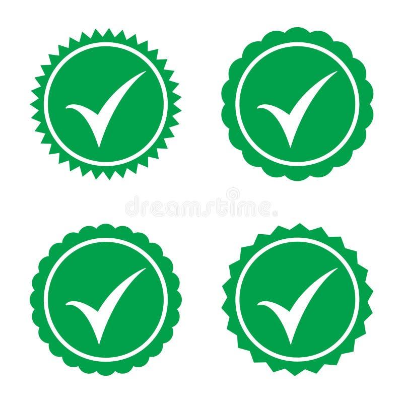 ícone aprovado Verificação do perfil Aceite o crachá Ícone da qualidade Marca de verificação Etiqueta com tiquetaque ilustração royalty free