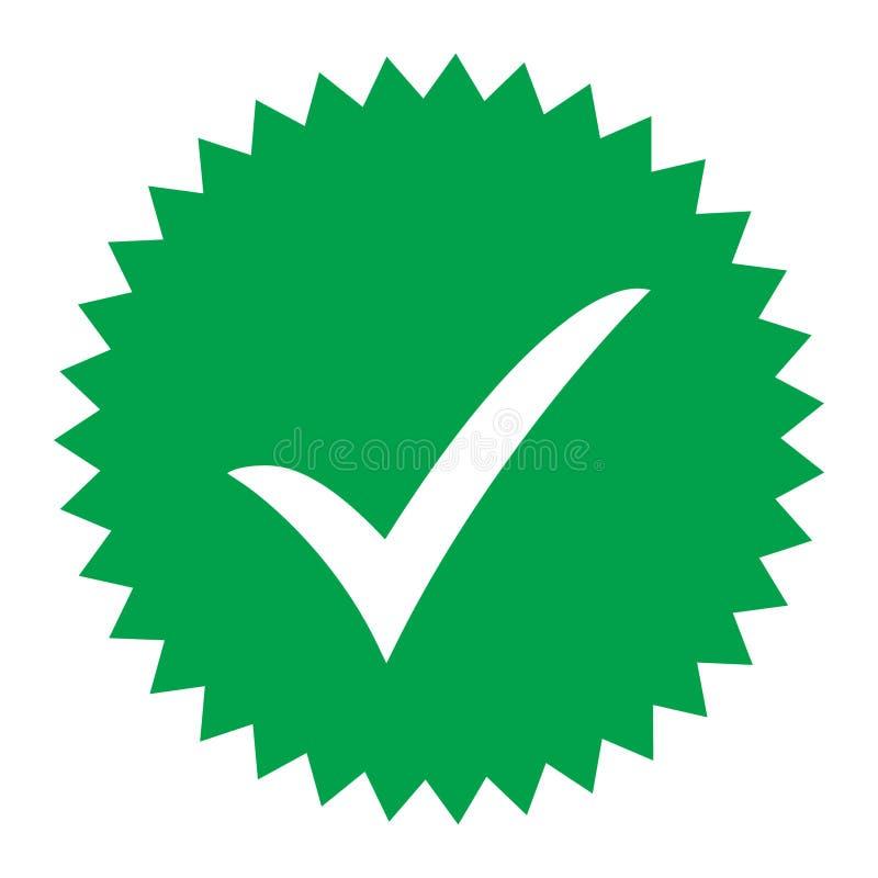 ícone aprovado Verificação do perfil Aceite o crachá Ícone da qualidade Marca de verificação Etiqueta com tiquetaque ilustração do vetor